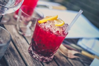 Red alcohol drink, cocktail